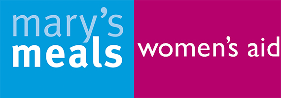 Logos for the two school-chosen charities, Women's Aid and Mary's Meals.